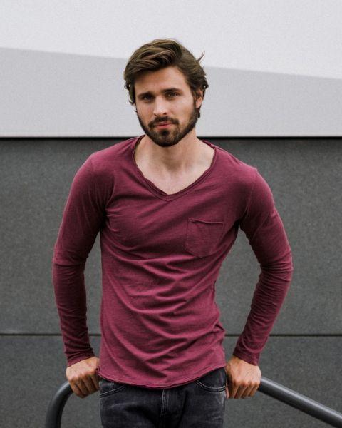 KEY LARGO Herren Longsleeve MLS AQUA v-neck Farbe  Größe
