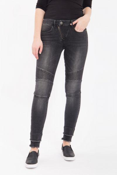 BLUE MONKEY Skinny Jeans mit Ziernähten und Fransenkante Lexi