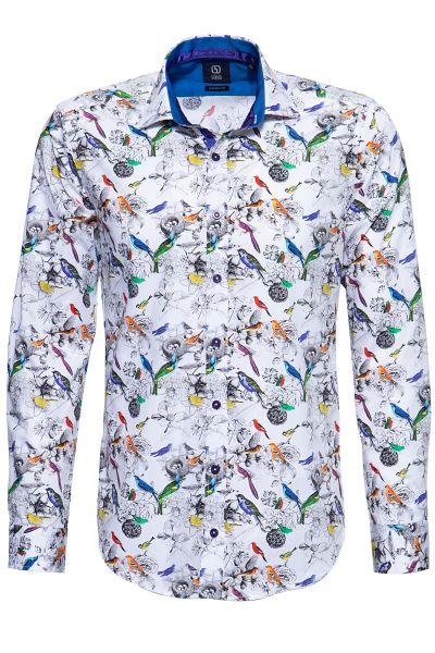GABANO Langarmhemd mit kontrastreichem Vogelmuster