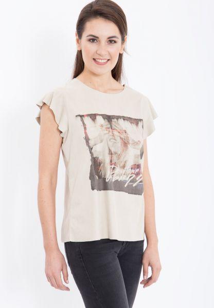 MEXX bedrucktes Shirt mit Flügelärmel in Velourleder-Optik