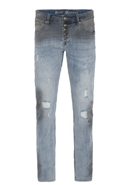 BLUE MONKEY Slim Fit Hose mit offener Knopfleiste in Used Waschung » Alex 4419 « Alex 4419