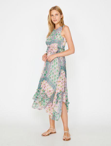 KOTON Sommerkleid mit kleinem Muster und Rüschen