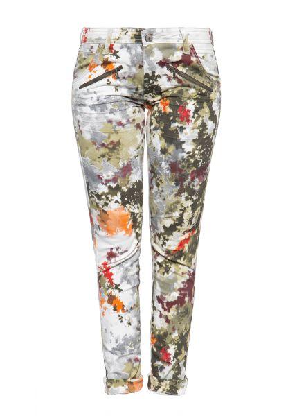 Slim Fit Jeans mit abstraktem Muster und Zier-Reißverschlüssen »Lola«