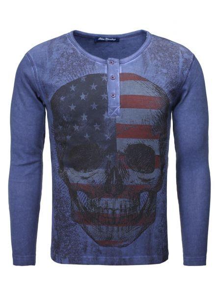 BLUE MONKEY Langarmshirt mit Frontprint Skull Style 1  16-1133
