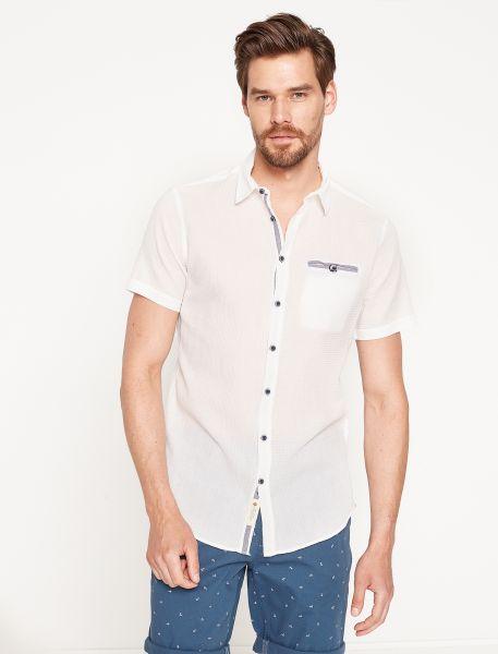 KOTON Kurzarmhemd mit Paspeltasche mit Schlingenverschluss