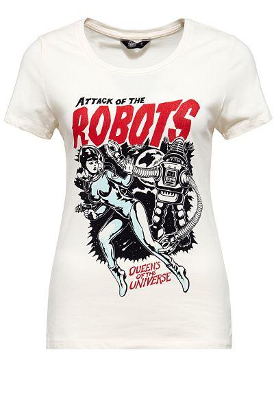 QUEEN KEROSIN T-Shirt im Vintage Look Attack of the Robots