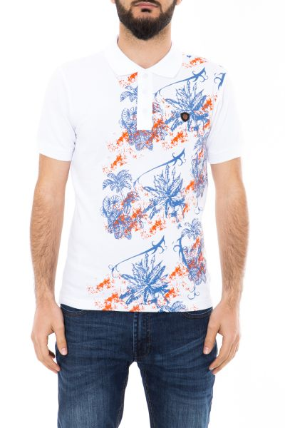 DANIEL DAAF Poloshirt mit Tropical Print