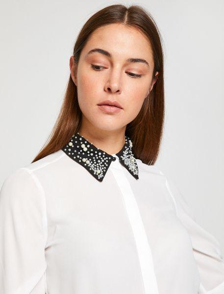 KOTON Bluse mit perlenbesticktem Kragen