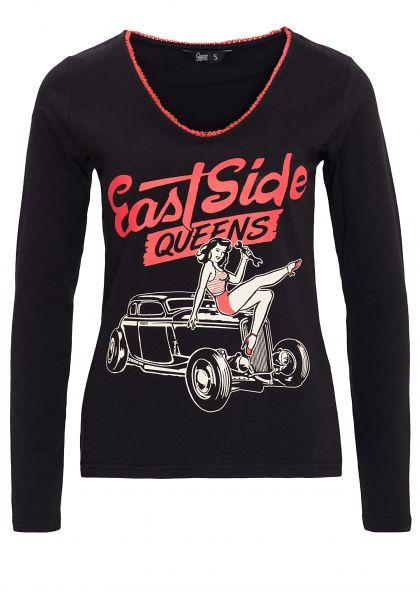 QUEEN KEROSIN Shirt mit Retro Print und V-Ausschnitt East Side Queens