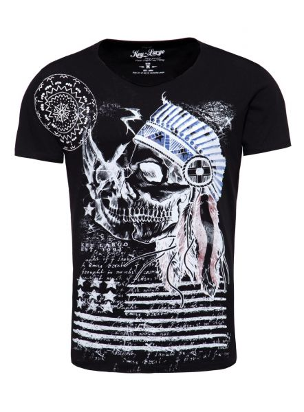 KEY LARGO Herren T-Shirt MT INDIAN SKULL