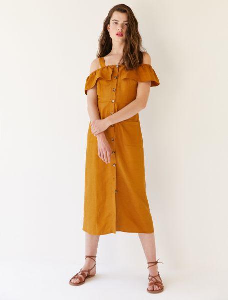 KOTON Kleid mit durchgehender Knopfleiste und aufgesetzten Taschen