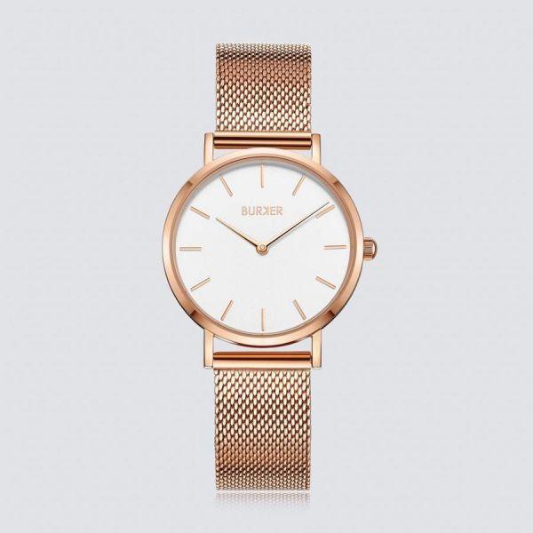 Burker Armbanduhr mit dezentem Ziffernblatt und geflochtenem Armband Ruby Jr.