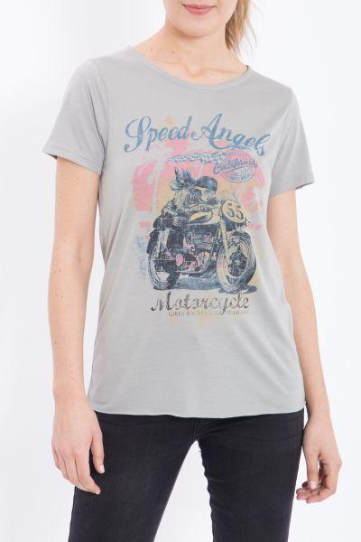 QUEEN KEROSIN Print T-Shirt aus Viskose-Mix Speed Angels
