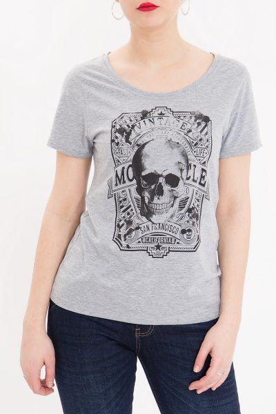 QUEEN KEROSIN Basic Shirt mit Front Print und Rundhalsausschnitt Vintage Skull
