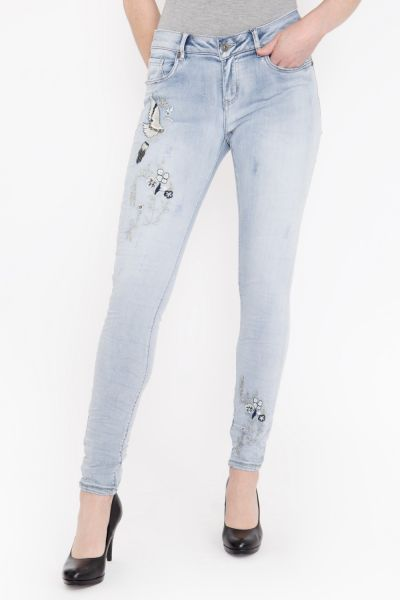 BLUE MONKEY Skinny Fit Jeans im Vorderteil bestickt, Crinkle Look Honey 1815
