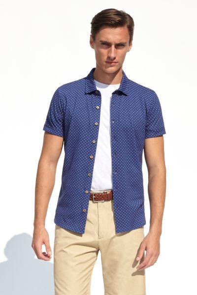 PORT ROYALE Poloshirt mit durchgängiger Knopfleiste und Allover-Punktemuster