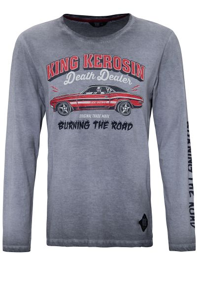 KING KEROSIN Longsleeve Shirt mit Prints und Oilwash-Effekten Death Dealer