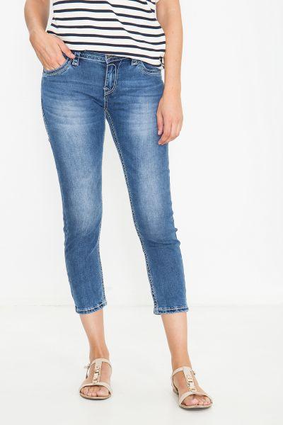 BLUE MONKEY 7/8 Jeans mit kontrastigen Ziersteppungen Charlotte 3913