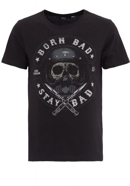 KING KEROSIN T-Shirt mit Skull Print Born Bad Stay Bad