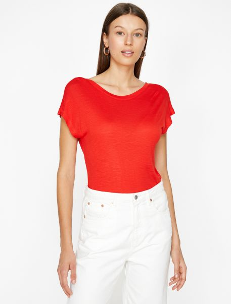 KOTON T-Shirt mit tiefem Rückenausschnitt im V
