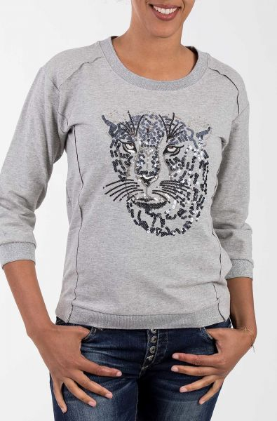 BLUE MONKEY Sweat Pullover mit Lurex Bündchen