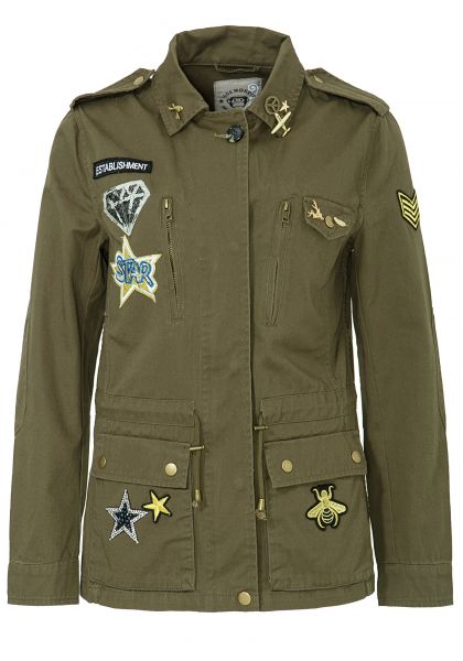 BLUE MONKEY Parka mit Patches und Pins verziert Military 7512