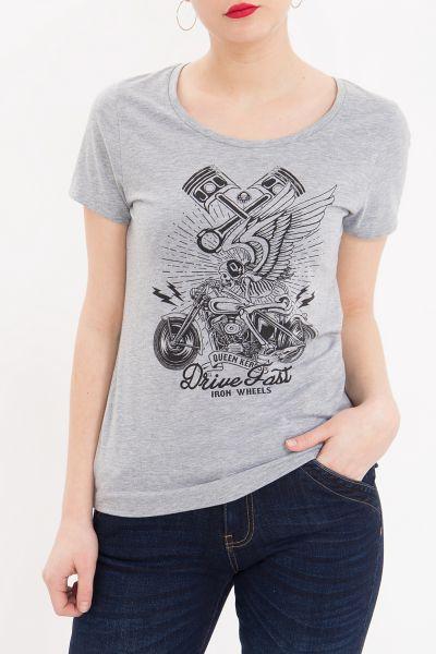 QUEEN KEROSIN Melange Shirt aus Melange Jersey mit Front Motiv Drive Fast
