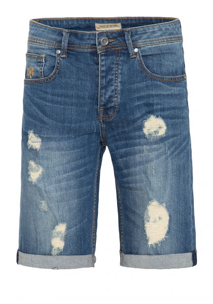 WAY OF GLORY Denim Shorts mit Destroyed Effekten