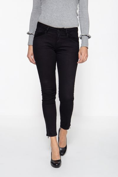 ATT JEANS Slim Fit Jeans mit Samteinsatz und Reißverschluss-Schlitzen Carron