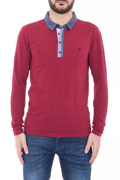 CANIZALES Langarm-Poloshirt mit kontrastfarbener Knopfleiste