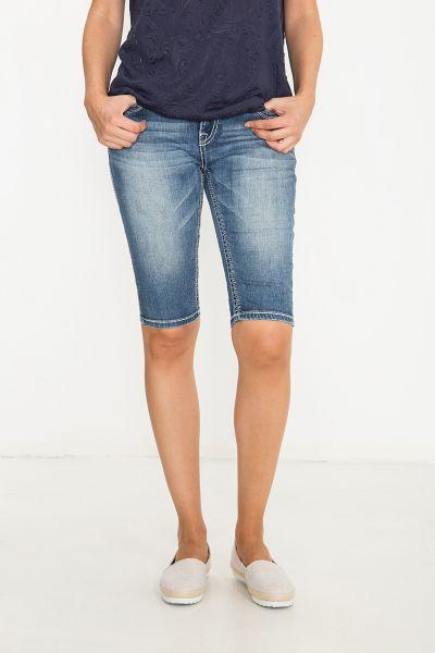 BLUE MONKEY Denim Shorts mit geschnittenem Saum und Zierstepps Paige 3944