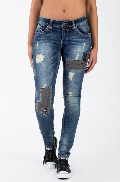 BLUE MONKEY Skinny Jeans mit Ziersteppungen und Pailletten Laura 1655 Laura 1655