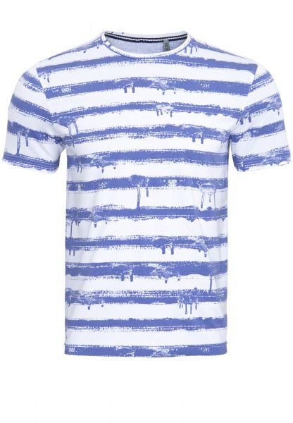 WAY OF GLORY Gestreiftes T-Shirt Farbklecks-Optik