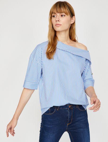 KOTON Dameshirt mit asymmetrischem Ausschnitt mit Kragen