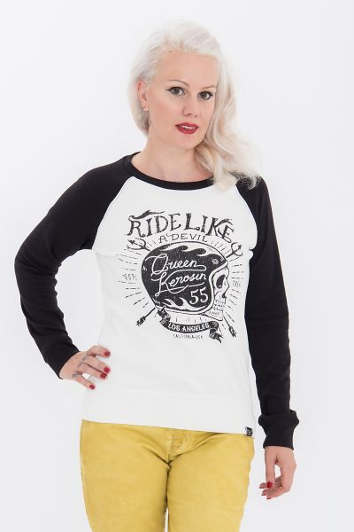 Queen Kerosin Sweater mit auffälligem Biker-Print Ride like a Devil