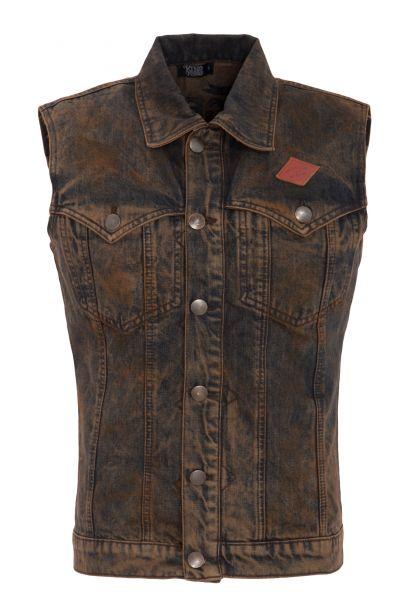 KING KEROSIN Jeans Weste mit Rückteil Stickerei und Vintage Waschung