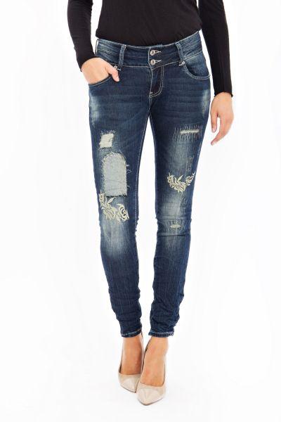 BLUE MONKEY Skinny Jeans mit Stickerei Susan 1671