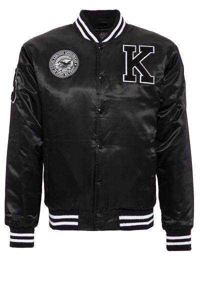 KING KEROSIN Satin College Jacke mit Patch und Rücken Stickerei Speedfreak