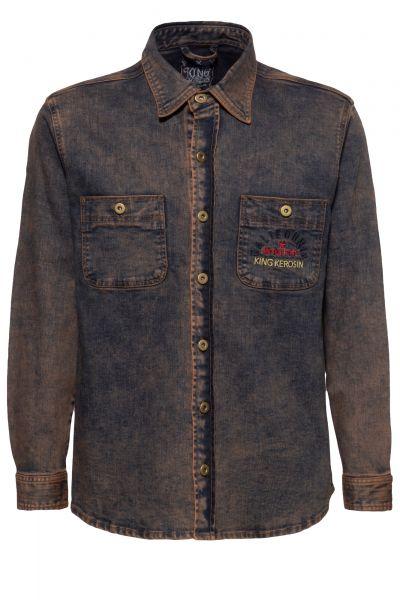 KING KEROSIN Denim Workwear Hemd mit Tint Wash und Stickerei