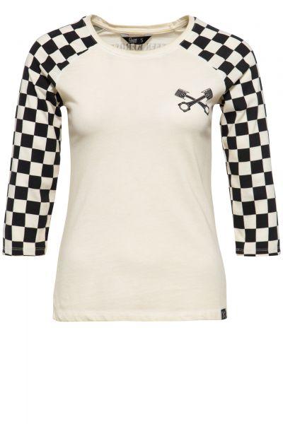 QUEEN KEROSIN Damen 3/4-Sleeve Shirt mit Racing Flag Raglanärmel Speedshop