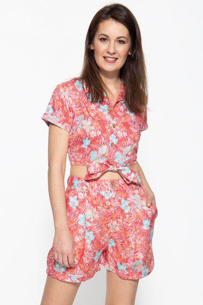 QUEEN KEROSIN Bluse mit tropischem Muster