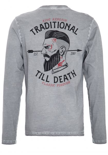 King Kersosin Langarmshirt im Used-Look mit Front-Stickerei und Rückenprint Traditional Till Death