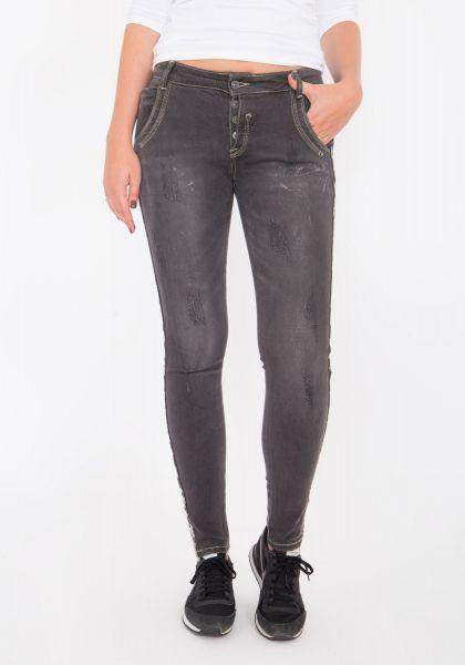 BLUE MONKEY Skinny Jeans mit Dekoband Emma 1118