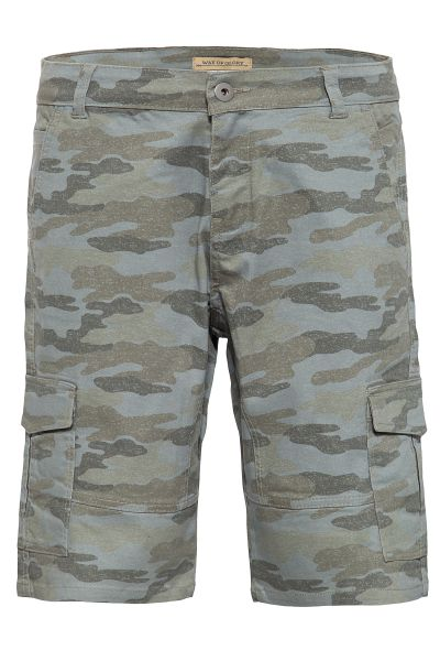 WAY OF GLORY Cargobermudas mit Camouflage-Muster im Used-Look