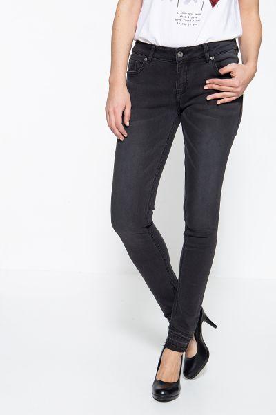BLUE MONKEY Skinny Fit Jeans mit offenen Beinabschlüssen Honey 7179
