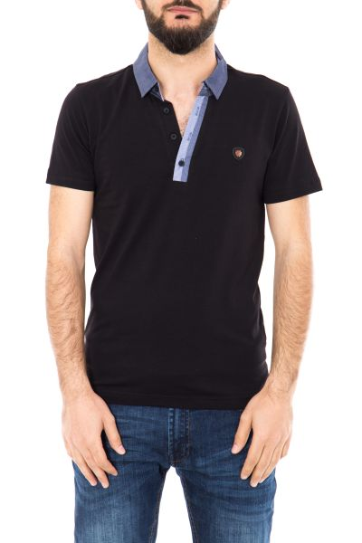 DANIEL DAAF Poloshirt mit kontrastfarbener Knopfleiste