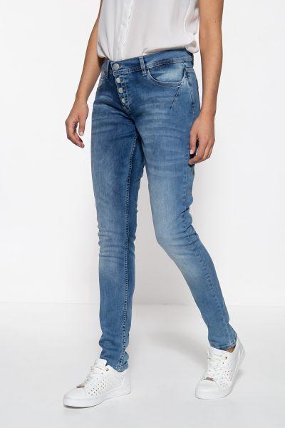 WAY OF GLORY Damen 5-Pocket Jeanshose mit asymmetischer Knopfleiste