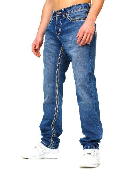 Amica Straight Jeans  blau beige