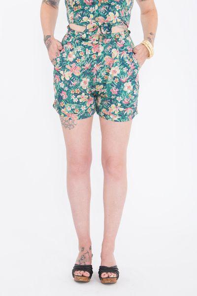 QUEEN KEROSIN Damenshorts mit tropischem Muster