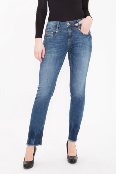 ATT JEANS - 5 Pocket Jeans Stretch Denim im Straight Cut mit Fransensaum Stella